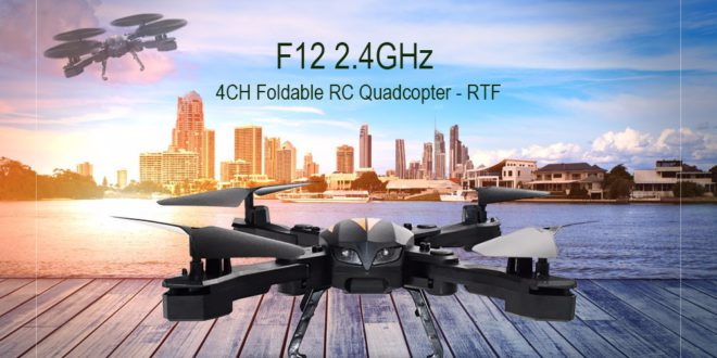 F12 is a portable quadcopter with folding arms and altitude hold